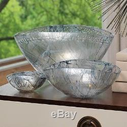 10 W Glass Bowl Artisan Made Work of Art Iridescent Color Blue Flame Larg