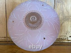 1920s Bowl Light Shade Ceiling Fixture Frosted Pink Art Deco Pressed Glass 10.5
