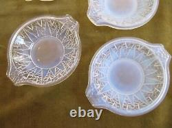 1930 french art opalescent glass fruit bowl & 8 cups Etling Bubble