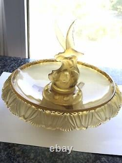 1930s Art Deco Frosted Amber Glass Moven Centrepiece Bowl Walther & Sohne VGC