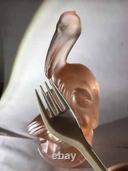 1930s Art Deco Frosted Pink Glass Pelican Centrepiece Bowl Walther & Sohne