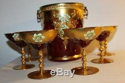 1940's Bohemian Italy Art Glass Punch Bowl with6 Cups gold encrusted & enamel