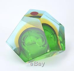 1970s Green Murano Faceted Sommerso Art Glass Bowl Dish Red Dot Optical Illusio