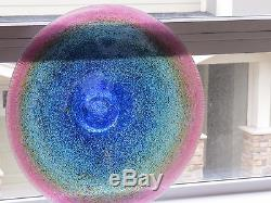 1980's Signed Robert Held Art Beautiful Glass Huge 21 Inch Plate/Bowl