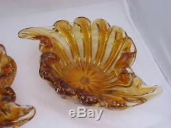 2 Vintage 1950's Signed MURANO ITALY Amber Bubble Clam Seashell Art Glass Bowls
