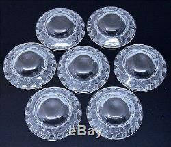 7 LALIQUE FRANCE FRENCH ART GLASS SPARROWS INDIVIDUAL BUTTER DISHES SALT BOWLS