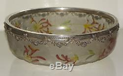 A French DAUM Art Nouveau Cameo Etched Enameled Frosted Glass Bowl Silver Mounts