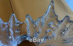 A LALIQUE CHAMPS ELYSEES CENTER CRYSTAL BOWL 16 Lbs 18 wide x 7.5 Tall LEAF