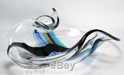 A Signed Seguso Murano Glass Bowl very large Art Glass Rainbow colors