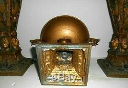 ANTIQUE ART DECO PAIR OF NATIVE AMERICAN INDIAN LAMPS with GLASS PANELS & BOWL SET