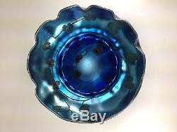 Antique, L. C. T. Tiffany Blue Favrille Intaglio Etched Ruffled Art Glass Bowl