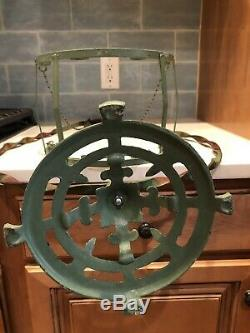 ANTIQUE VICTORIAN ART DECO THICK GLASS HANGING FISH TANK BOWL & STAND 34x20x8