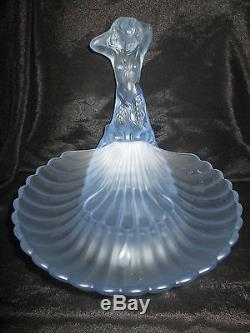 ART DECO WALTHER & SOHNE FROSTED BLUE GLASS MUSCHEL MERMAID CENTREPIECE & BOWL