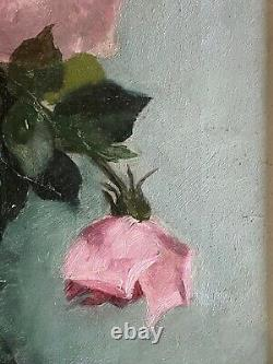 Antique 1900 Framed Signed Oil Painting of Pink Roses Glass Bowl M. H. Tuttle