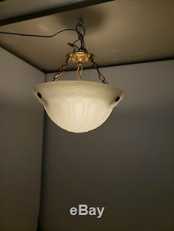 Antique 3 Chain Chandelier Bowl Pendant Frosted Art Deco Nouvea French Shade