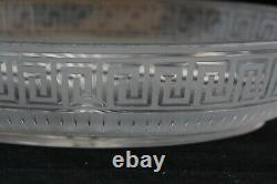 Antique Art Deco Cut Glass Crystal Frosted To Clear Greek Key Pattern Oval Bowl
