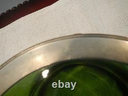 Antique Arts & Crafts Green Glass Bowl With Pewter Frame In T. M. O. Liberty & Co