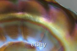 Antique Authentic Tiffany American Art Glass L. C. T Gold Favrile Berry Bowl, NR