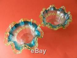 Antique English Concentric Ribbed Art Glass Ruffle Rimmed Bowls Uranium Rigaree