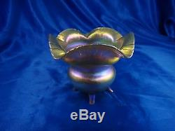 Antique LCT Tiffany Favrile Art Glass Footed Bowl or Compote 3 3/4 Hand Signed