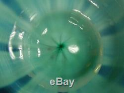 Antique Louis Comfort Tiffany Opalescent Blue Art Glass Footed Desert Bowl