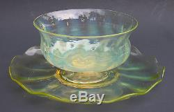 Antique Signed LCT TIFFANY Favrille Art Glass Opalescent Footed Bowl & Plate EX