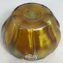 Antique Tiffany Favrile Art Glass 5 Ruffled Bowl Signed LCT Iridescent Gold 16K