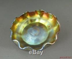 Antique Tiffany L. C. T. Iridescent Gold Favrile Rose Bowl Pinched Ruffle Rim