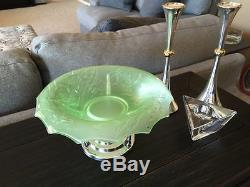 Antique WALTHER SOHNE Art Deco Pressed Glass Fish Candy Bowl with NUDE LADY BASE