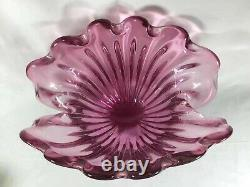 Archimede Seguso Murano Pink Art Glass Large Clam Shell Bowl 1950