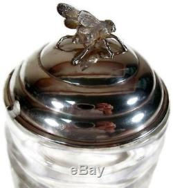 Art Deco Glass Honey Pot with Blackinton Sterling Silver Figural Honey Bee Lid