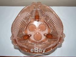 Art Deco Josef Inwald Pink Fish Footed Centrepiece Glass Bowl