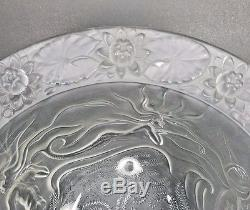 Art Deco Mermaid Bowl Josef Inwald Barolac Czech Centerpiece Frosted Lotus Vtg