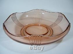 Art Deco Pink Depression Glass Float Bowl Frog And Fish Antique