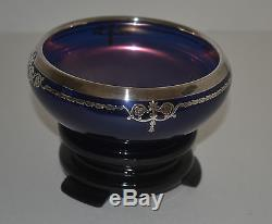 Art Deco Rockwell Carnival Glass Cobalt Blue Bowl With Silver Overlay And Stand