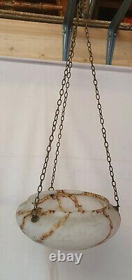 Art Deco Shade of Brown Marbled Glass Pendant / Bowl Flycatcher Shade+Chains