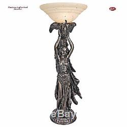 Art Deco Style Peacock Goddess Torchiere 41 Table Lamp with Glass Bowl Shade