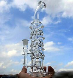 Art Glass Bong Clear Dimpled with Percolator 12.5 inches Tall with herb bowl