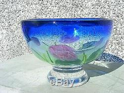 Art Glass Footed Bowl Heavy Flowers Unsigned