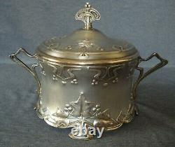 Art Nouveau WMF Silver Plated Sugar Bowl with glass