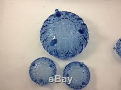 BAGLEY Art Deco Pressed 5 GLASS BOWL Lot FRUIT Berry Depression BLUE 3 Footed