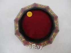 BEAUTIFUL C. 1920'S MOSER ROYAL RED With 24 K GOLD ENAMEL BOWL With RUFFLED EDGE
