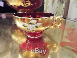 BOHEMIAN CZECH RUBY ART GLASS WithHAND PAINTED GOLD & FLORAL PUNCH BOWL & CUPS NR