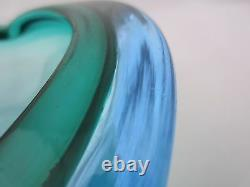 Barbini clamshell bowl Murano sommerso green & sapphire watery blue art glass