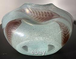 Barovier & Toso Large 11 Murano Art Glass Glauco Bowl Vase Leaf Bollicine Exc