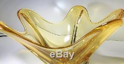 Beautiful Large Free Form Fruit Bowl Vintage Murano Art Glass Yellow