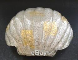 Beautiful Mid Century Fratelli Toso Overshot Shell Form Bowl with Gold Inclusion