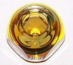 Beautiful Vintage Murano Art Glass Sommerso Faceted 4 Round Bowl/votive Holder
