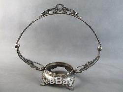 C1890 Victorian Art Glass BRIDE'S BOWL Pink MARY GREGORY withSilver Frame