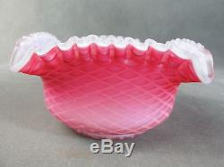 C1890 Victorian Art Glass Square BRIDE'S BOWLPink MOTHER OF PEARL Air Trap